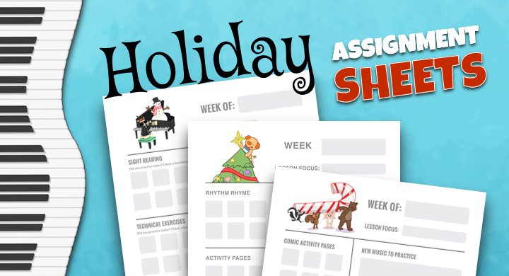 Holiday Lesson Assignment Sheets To Inspire Christmas Break Practice