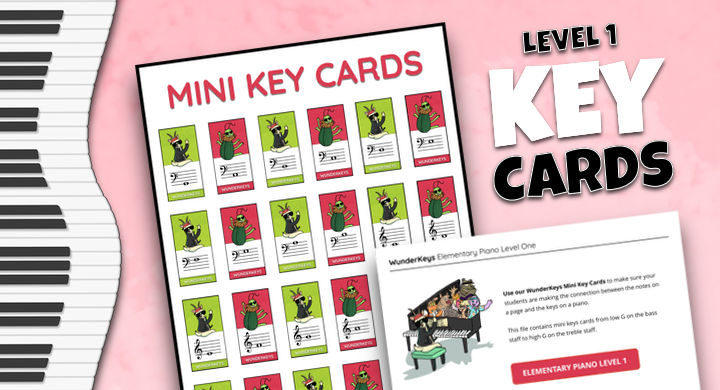 More Mini Key Cards For Your Level 1 Piano Students